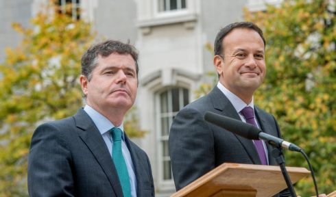 BAILOUT REPAYMENTS: Minister for Finance Paschal Donohoe and Taoiseach Leo Varadkar announce the early repayment of some bailout loans, in Dublin. Photograph: Brenda Fitzsimons/The Irish Times