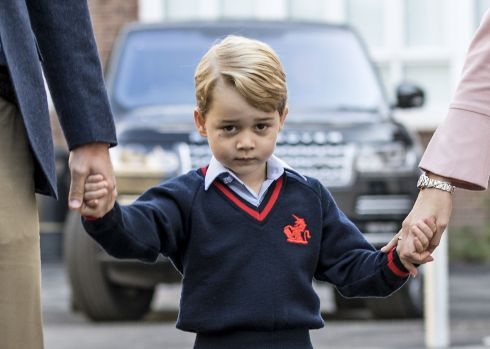 ROYAL ROAD TO LEARNING: Britain's Prince George arrives for his first day of school at Thomas's Battersea, in southwest London. Photograph: Richard Pohle/AFP/Getty Images