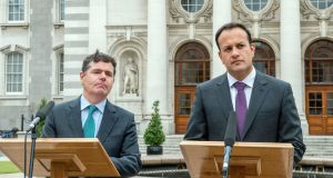 Taoiseach Leo Varadkar (right) with Minister for Finance Paschal Donohoe speaking outside  Government Buildings in Dublin on Thursday. Photograph: Brenda Fitzsimons/The Irish Times