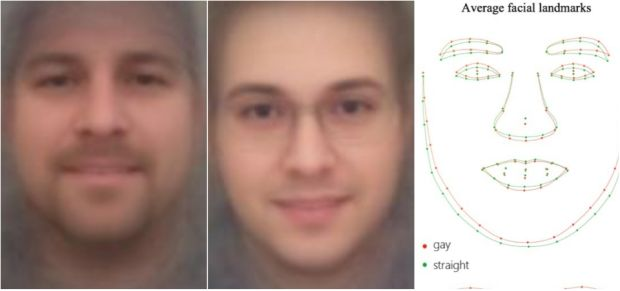 "From left: composite heterosexual faces, composite homosexual faces and ""average facial landmarks"" - for gay (red line) and straight (green lines) men. Photograph: Stanford University"