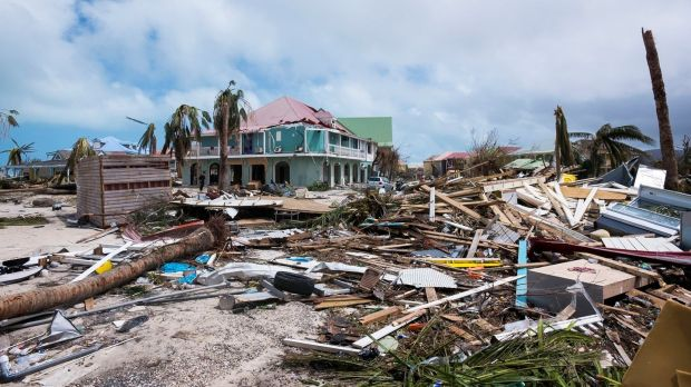 The damage in Orient Bay on the French Carribean island of Saint-Martin, after the passage of Hurricane Irma. Photograph: Lionel Chamoiseau/AFP/Getty Images