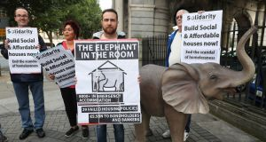 Homelessness campaigners Solidarity outside the Custom House. Photograph: Brian Lawless/PA Wire