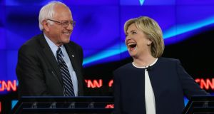 Then Democratic presidential candidates  Senator Bernie Sanders and Hillary Clinton take part in a debate  at Wynn Las Vegas hotel in October 2015 in Las Vegas, Nevada. File photograph: Joe Raedle/Getty Images