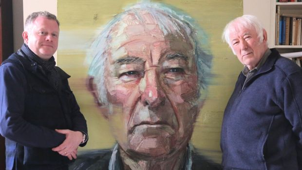 Artist Colin Davidson with his subject, the late Seamus Heaney