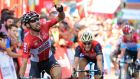 Belgium's Thomas De Gendt  of team LottoSoudal celebrates as he crosses the finish line to win the 19th stage of  La Vuelta, a 149.7 km route from Caso, Parque Natural de Redes to Gijon. Photograph: Jose Jordan/AFP/Getty Images