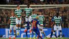 Neymar scores for Barcelona during the Celtic's 7-0 defeat at the Camp Nou in September 2016. It was a night that raised questions about the entire competition and the role of clubs such as Celtic in it. Photograph: Alberto Estevez/EPA