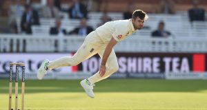 England's James Anderson bowls Kraigg Brathwaite of the West Indies to claim his 500th Test wicket during the third Test at Lord's. Photograph:   Glyn Kirk/AFP/Getty Images