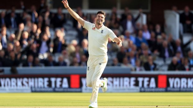 England's James Anderson celebrates after claiming his 500th Test wicket at Lord's. Photograph: Adam Davy/PA Wire