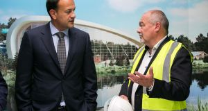 Center Parcs chief executive Martin Dalby with  Taoiseach Leo Varadkar  at the official sod-turning ceremony marking the start of construction work on the €233 million development at Center Parcs Longford Forest, Ballymahon, Co Longford. Photograph: Shane O'Neill/SON Photographic