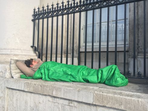 HOUSING CRISIS: The scene outside Custom House in Dublin as Minister for Housing Eoghan Murphy conducted a summit on housing and homelessness. Photograph: Cyril Byrne/The Irish Times