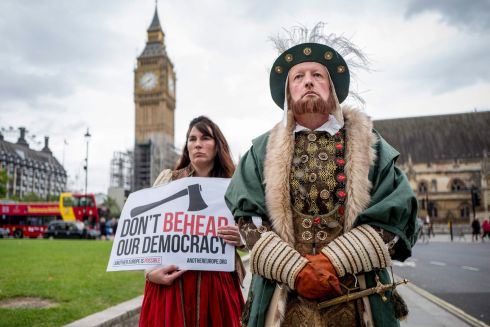 BREXIT BILL: Protesters in Tudor costume object to elements of the European Union (Withdrawal) Bill, at the Houses of Parliament in London. Photograph: Tolga Akmen/AFP/Getty Images