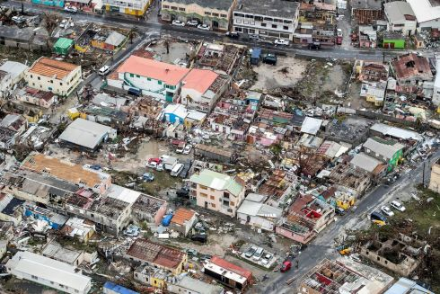 View of the aftermath of Hurricane Irma on Sint Maarten Dutch part of Saint Martin island in the Caribbean. Photograph: Reuters /Netherlands Ministry of Defence