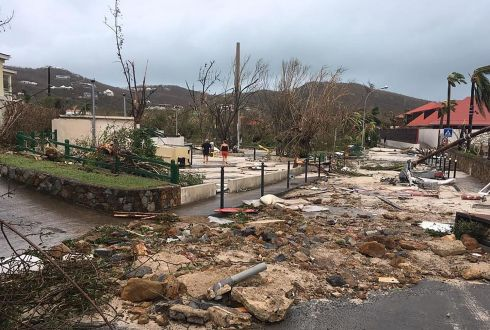 A picture released by Facebook user Kevin Barralon on September 7, 2017 shows a damaged street of Gustavia on the French overseas collectivity of Saint-Barthelemy in the Caribbean following hurricane Irma.  Photograph: AFP