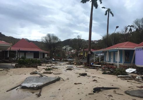 A picture released by Facebook user Kevin Barralon on September 7, 2017 shows a flooded street of Gustavia on the French overseas collectivity of Saint-Barthelemy in the Caribbean following hurricane Irma.  Photograph:AFP