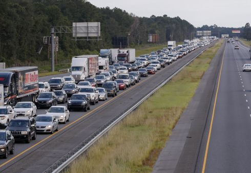 Hurricane Irma evacuating traffic streaming out of Florida creeps along northbound Interstate 75.  Photograph: Erik Lesser / Reuters