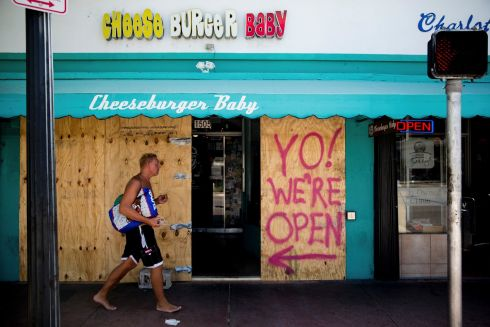 Restaurants and stores prepare for Hurricane Irma in Miami Beach, Florida, the US. Photograph: Scott McIntyre/The New York Times
