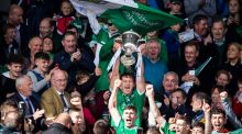 Limerick captain Tom Morrissey lifts the cup at Semple Stadium. Photograph: Cathal Noonan/Inpho