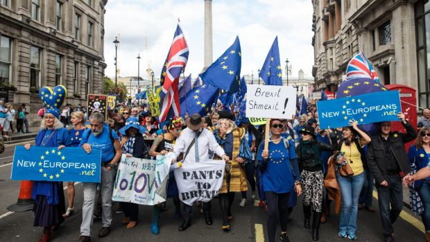 Protesters wave flags and hold placards as thousands march to Parliament Square in support of the European Union in London. Photograph: Jack Taylor/Getty Images