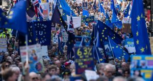 Pro-EU demonstrators march towards Parliament Square in  London,  on Saturday. Thousands of campaigners and protesters gathered for a march and rally during the 'People's March for Europe against Brexit', to call on politicians to 'unite, rethink and reject Brexit'. Photograph: Will Oliver/EPA