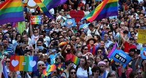 Thousands gather at Sydney Town Hall to support a yes vote for the upcoming same-sex marriage survey on September 10, 2017 in Sydney, Australia. Photograph:  Lisa Maree Williams/Getty Images