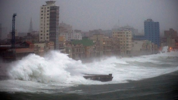 Strong waves brought by Hurricane Irma hit the Malecon seawall in Havana, Cuba. Photograph: Ramon Espinosa