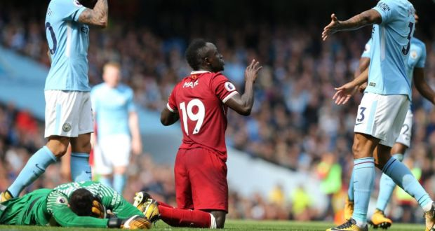 01d82cfa2e6 Sadio Mane was sent off for a challenge on Manchester City goalkeeper  Ederson as Liverpool were