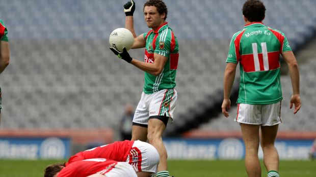 Tom Parsons in his first coming as a Mayo footballer facing Cork in the 2010 Allianz League final. Photograph: Cathal Noonan/Inpho