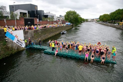 Competitors gather at the start on Victoria Quay.  Photograph Nick Bradshaw / The Irish Times