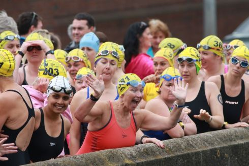 Female competitors gather at the start on Victoria Quay.  Photograph: Nick Bradshaw / The Irish Times