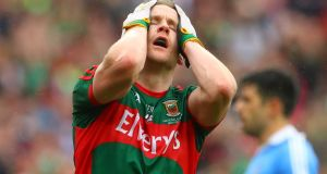 Andy Moran reacts to a missed chance in last year's All-Ireland SFC final. Photograph: James Crombie/Inpho