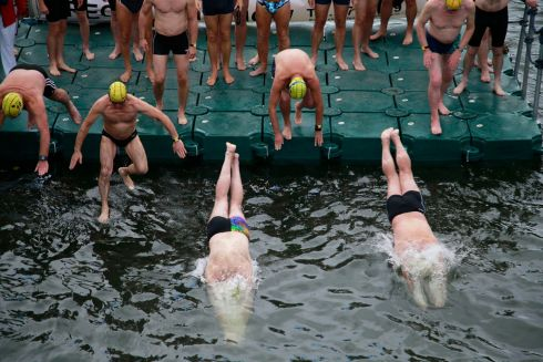 Male competitors at the start on Dublin's Victoria Quay. Photograph: Nick Bradshaw / The Irish Times