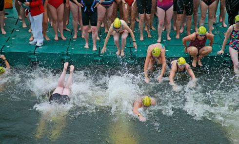 Female competitors at the start on Dublin's Victoria Quay. Photograph: Nick Bradshaw / The Irish Times