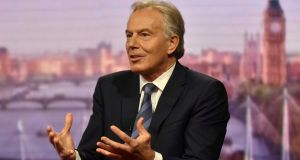 Former British prime minister, Tony Blair, appears on the BBC's The Andrew Marr Show. Photograph: Jeff Overs/BBC handout via Reuters