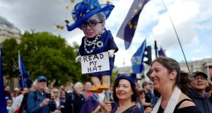 Demonstrators head towards Parliament Square during the anti-Brexit People's March for Europe, in central London. Photograph: Tolga Akmen/Reuters