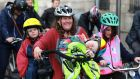 Baby Sarah Hanna having a snooze on the front, brother Peter on the back while Selina Bailey participated in a cycle rally in Dublin for safer cycle lanes in particular on the city quays. Photograph Nick Bradshaw / The Irish Times