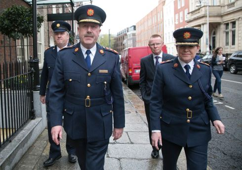 WALKING THE MILE: Garda Supt David Taylor, then garda commissioner Martin Callinan, deputy commissioner Nóirín O'Sullivan following a Public Accounts Committee meeting at Leinster House in May 2013. Photograph: Gareth Chaney Collins