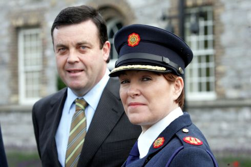 HAPPIER TIMES: Nóirín O'Sullivan after her appointment as assistant Garda commissioner in July 2007 at Garda Headquarters with  then minister for justice Brian Lenihan. Photograph: Cyril Byrne