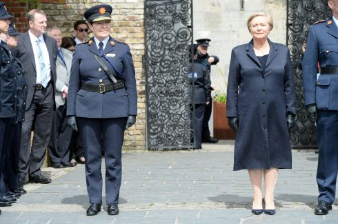 PAYING RESPECTS: Garda Commissioner Nóirín O'Sullivan wth Frances Fitzgerald at the annual Garda Memorial Day for members of the force killed in the line of duty, at Dublin Castle in May last year. Photograph: Eric Luke/The Irish Times