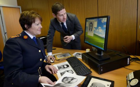 MAKING ADVANCES: O'Sullivan with Det Garda Ian Redican, at the launch of the Evo-fit Facial Recognition system at Garda Headquarters. Photograph: Brenda Fitzsimons/The Irish Times