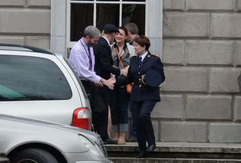 WHISTLEBLOWER: Acting Garda Commissioner Nóirín O'Sullivan meets Garda whistleblower John Wilson in May 2014, after attending the parliamentary committee on legislation governing the Garda at Leinster House Photograph: Dara Mac Donaill/The Irish Times