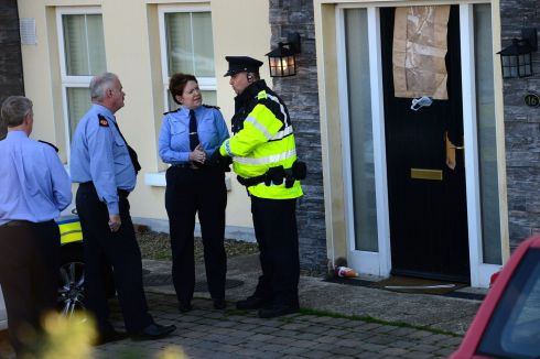 GARDA GOLDEN: Garda Commissioner Nóirín O'Sullivan at the scene of the shooting at Mullach Alainn estate in Omeath, Co Louth, where two men including Garda Tony Golden were killed in October 2015. Photograph: Dara Mac Donaill/The Irish Times