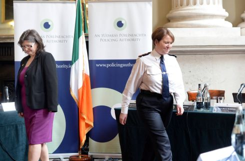 I'M WATCHING YOU: Chairwoman of the Policing Authority Josephine Feehily and the Garda Commissioner meeting in Dublin. Photograph: Eric Luke/The Irish Times