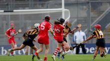 Cork's Julia White scores the winning point late in injury time in the the Liberty Insurance All-Ireland Senior Camogie Final against  and Kilkenny at Croke Park. Photograph: James Crombie/Inpho