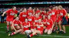 Cork team celebrate after beating Kilkenny in the All-Ireland senior camogie final. Photograph: James Crombie/Inpho