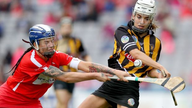 Cork's Ashling Thompson blocks Kilkenny's Davina Tobin. Photograph: Oisin Keniry/Inpho