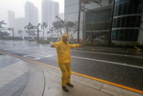A man braves the elements as the full effects of Hurricane Irma strike in Miami, Florida. Photograph: Erik S Lesser/EPA