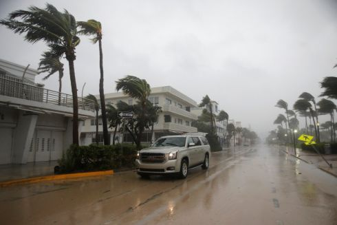 A vehicle drives along Ocean Drive in South Beach as Hurricane Irma arrives at south Florida. Photograph: Carlos Barria/Reuters