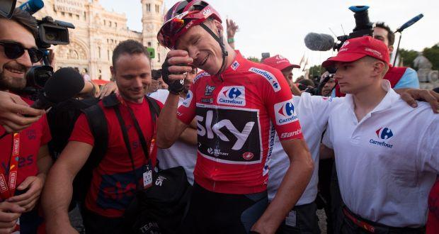 Chris Froomer celebrates after winning the Vuelta a España. Photograph   Denis Doyle Getty 363b460d8