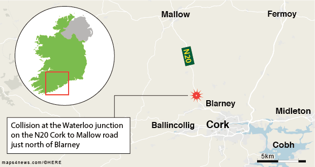 in cork two tourists travelling in a hire car were pronounced dead at the scene of a collision with a truck on the n20 road between cork and mallow