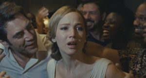 Javier Bardem and Jennifer Lawrence in mother!